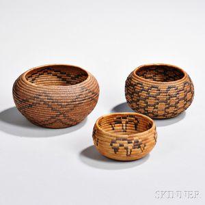 Three California Coiled Basketry Bowls