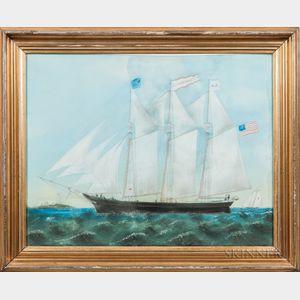 American School, Late 19th Century      Portrait of the Clipper Ship Aldana Rokes