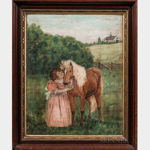 American School, 19th Century      Girl with Horse