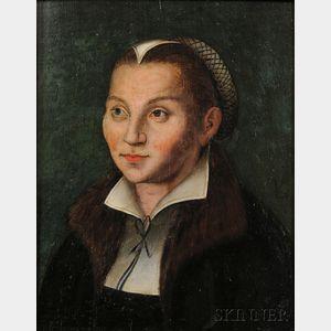 School of Lucas Cranach the Elder (German, c. 1472-1553)      Portrait of Katharina von Bora