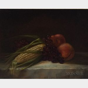 American School, 19th/20th Century      Corn and Fruit Still Life