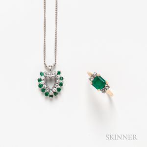 14kt White Gold, Emerald, and Diamond Heart Pendant and a 14kt Gold, Emerald, and Diamond Ring