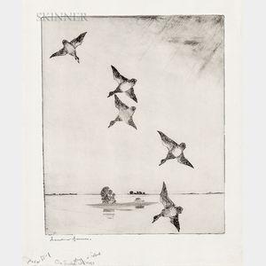 Frank Weston Benson (American, 1862-1951)      On Swift Wings
