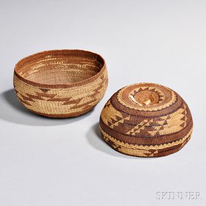 Two California Twined Basketry Bowls