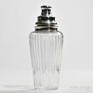 Hawkes Sterling Silver-mounted and Cut Glass Cocktail Shaker