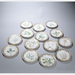 """Fourteen Royal Copenhagen """"Flora Danica"""" Dessert Plates"""