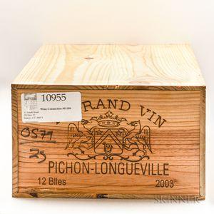 Chateau Pichon Baron 2003, 12 bottles (owc)