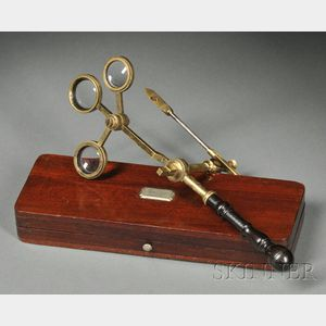 Brass Compass Microscope with Turned Wood Handle
