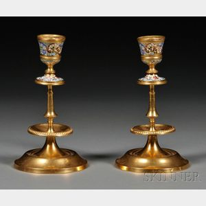 Pair of Champleve and Gilt-metal Candlesticks