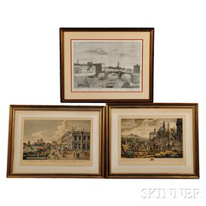 Three Framed Prints of European Subjects:, Antonio Visentini (Italian, 1688-1782), After Canaletto, Prospectus a Columna S. Theodori ad