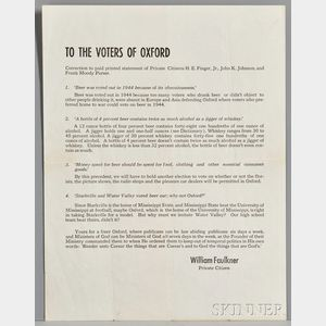 Faulkner, William (1897-1962) Beer Broadside, To the Voters of Oxford.
