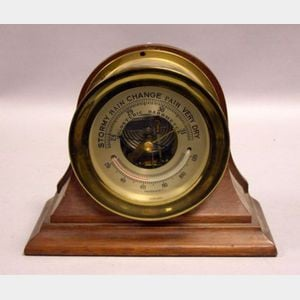 Chelsea Brass and Mahogany Holosteric Barometer.