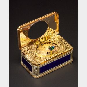 Sold for: $182,000 - Important Gold and Enamel Signed Singing Bird Box by Jaquet-Droz & Leschot