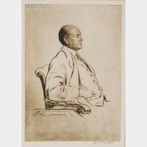 Lot of Two Portrait Prints:      Muirhead Bone (British, 1876-1953), Portrait of Leonard Gow