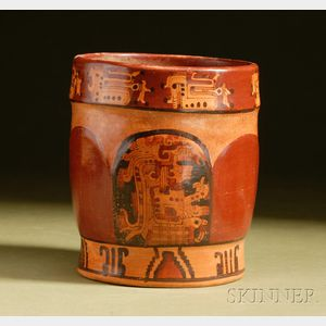 Pre-Columbian Polychrome Pottery Cylinder