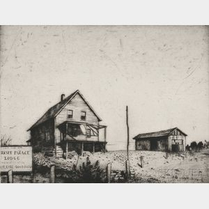 Armin Landeck (American, 1905-1984)      Sunset Palace Lodge