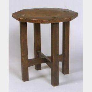 Arts & Crafts Octagonal-top Oak Tabouret