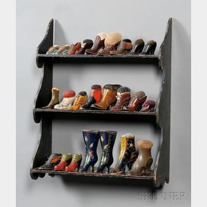 Painted Scroll-end Shelf and a Collection of Victorian Shoe Pincushions