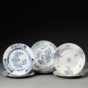 Seven Export Blue and White Dining Plates