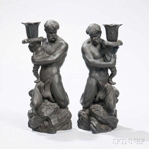 Pair of Wedgwood Black Basalt Triton Figural Candlesticks