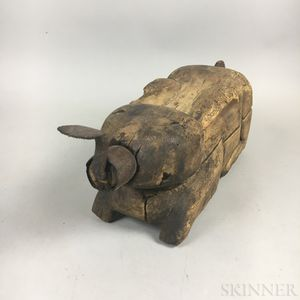 Rabbit-form Carved Wood and Iron Coconut Grater