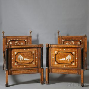 Pair of Italian Neoclassical-style Inlaid Walnut Twin Beds