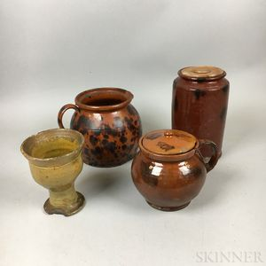 Four Pieces of Redware Pottery