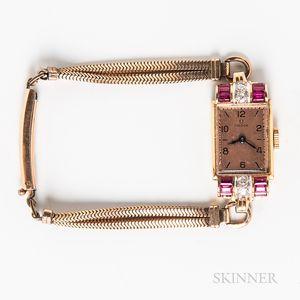Omega 18kt Gold, Ruby, and Diamond Lady's Wristwatch