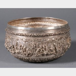 Large Southeast Asian Silver Repousse Bowl