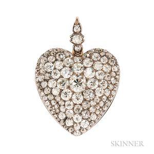 Fine Antique Diamond Heart Pendant
