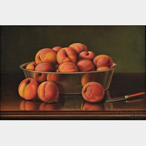 Levi Wells Prentice (American, 1851-1935)      Still Life with Peaches in a Silver Bowl