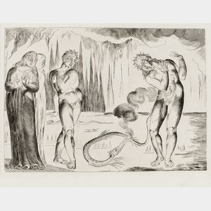 William Blake (British, 1757-1827) He Eyed the Serpent and the Serpent Him (Buoso Attacked by Francesco di Cavalcanti in the Form of a