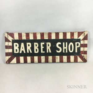 "Painted Wood Double-sided ""Barber Shop"" Sign"