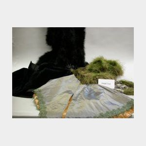 Seven 19th Century Lady's Shoulder Capes, Green and Black Ostrich Feather Shoulder   Cape and Shawl.