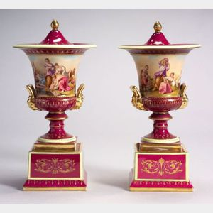 Pair of Austrian Porcelain Campagna Urn Vases and Covers