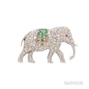 Platinum and Diamond Elephant Brooch, Hartz & Cie