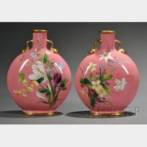Pair of Minton Porcelain Pink Ground Moon Flasks