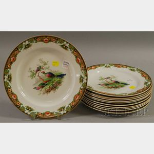 Set of Eleven Wedgwood Transfer-decorated Ceramic Dinner Plates.