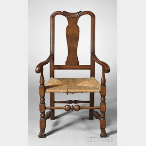 Queen Anne Maple Carved and Turned Armchair