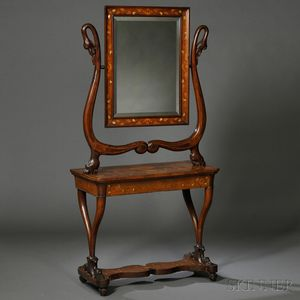 Italian Neoclassical Inlaid Walnut Dressing Table and Mirror