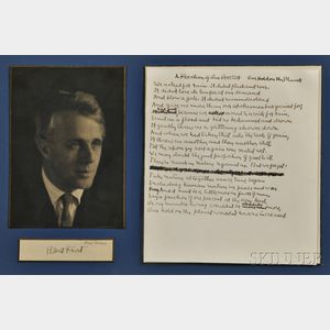 Frost, Robert (1874-1963) Autograph Working Manuscript, Our Hold on the Planet