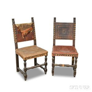 Pair of Renaissance-style Carved and Stained Wood Side Chairs