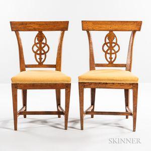 Set of Six Biedermeier Beechwood Dining Chairs