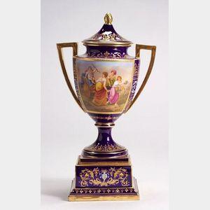 Vienna Porcelain Cobalt Blue Covered Vase on Stand