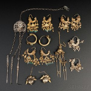 Nine Silvered and Gilt-metal Accessories