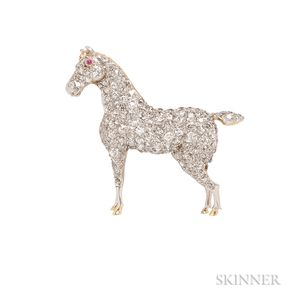 Diamond Horse Brooch