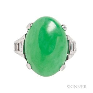 Platinum, Jadeite Jade, and Diamond Ring