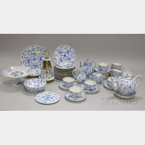 Forty-four Piece German Gilt and Blue and White Floral Decorated Porcelain Partial Tea and Coffee Service, a Se...