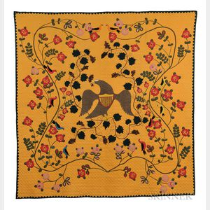 Remarkable Pieced and Appliqued Cotton Civil War Memorial Quilt