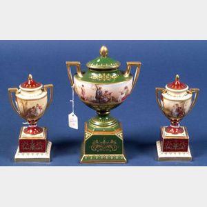 Three Austrian Porcelain Covered Vases